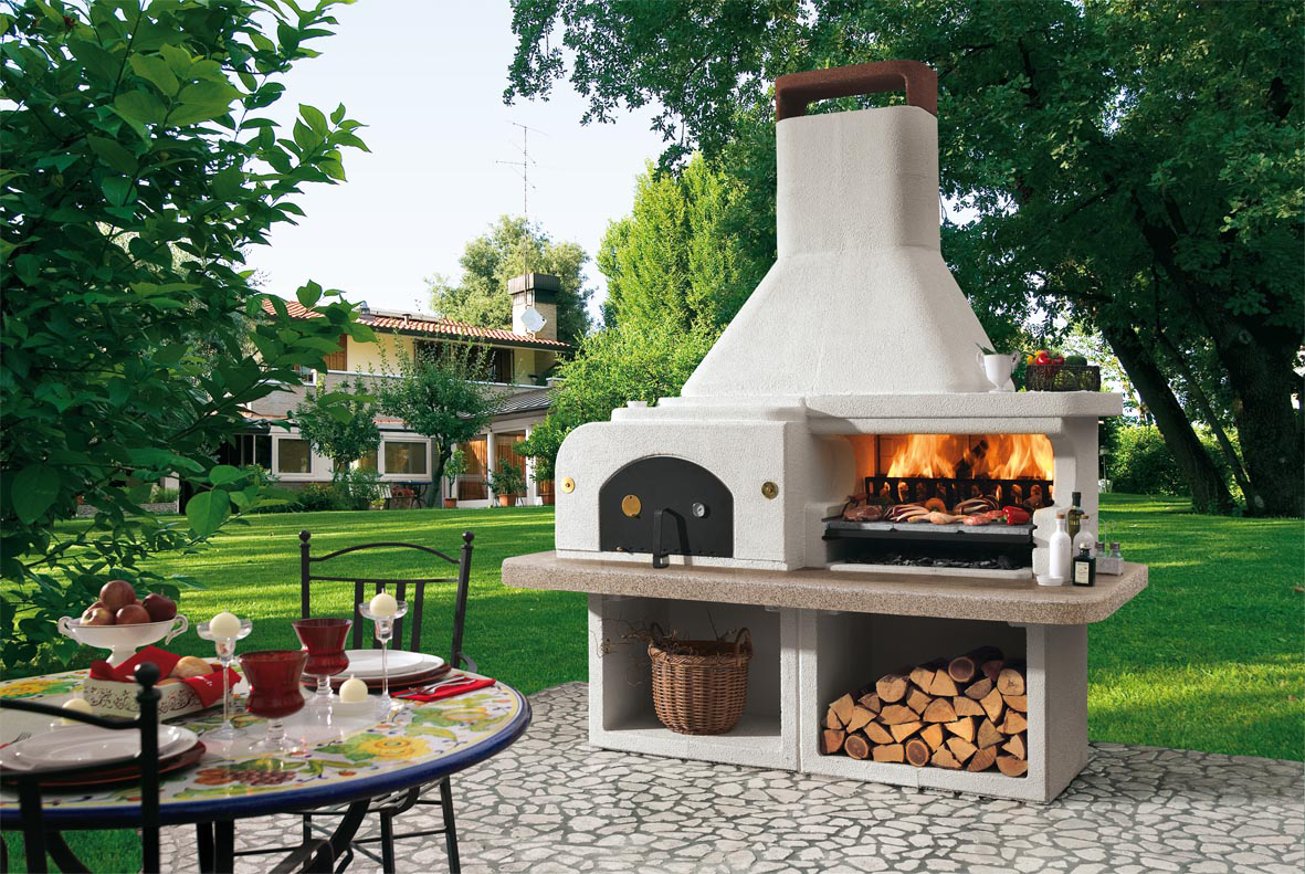 grillkamin palazzetti gargano mit pizzaofen top gartenkamin aus italien ebay. Black Bedroom Furniture Sets. Home Design Ideas